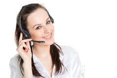 Retrato del operador del teléfono con las auriculares Imágenes de archivo libres de regalías