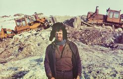 Retrato del oro-prospector soviético joven Imagen de archivo libre de regalías