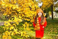 Retrato del otoño del kazakh hermoso, niño asiático Niña feliz con las hojas en el parque en caída fotos de archivo libres de regalías