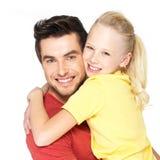 Retrato del padre feliz con la hija bonita Fotos de archivo libres de regalías