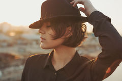Retrato del perfil del sombrero de Coll Foto de archivo