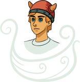 Retrato del personaje de dibujos animados joven de vikingo Imágenes de archivo libres de regalías