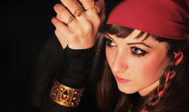 Retrato del pirata de la muchacha Foto de archivo