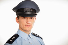 Retrato del policía joven Fotos de archivo