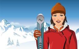 Retrato del poste de esquí de la explotación agrícola de la mujer joven stock de ilustración