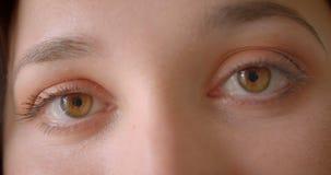 Retrato del primer de la cara femenina caucásica bonita joven con los ojos que miran el centelleo de la cámara almacen de metraje de vídeo