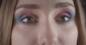 Retrato del primer de la cara femenina de pelo corto caucásica joven con los ojos con el maquillaje del brillo que presenta delan metrajes