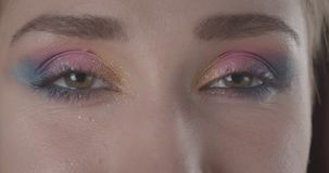 Retrato del primer de la cara femenina de pelo corto caucásica linda joven con los ojos con el maquillaje del brillo que mira la  metrajes