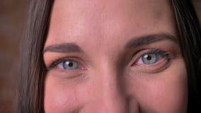 Retrato del primer de la hembra en el movimiento que shrilly mira en la cámara metrajes