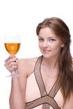 Retrato del primer de la muchacha con el vidrio de alcohol Imagenes de archivo