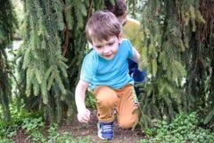 Retrato del primer de los muchachos de los pequeños hermanos del caucásico dos que ríen afuera en parque el día de verano Foto de archivo libre de regalías