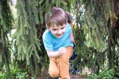 Retrato del primer de los muchachos de los pequeños hermanos del caucásico dos que ríen afuera en parque el día de verano Fotos de archivo