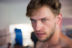 Retrato del primer del boxeador de sexo masculino joven confiado fotos de archivo libres de regalías