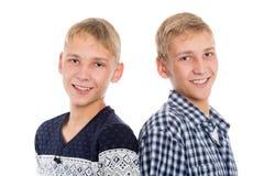 Retrato del primer del hermanos gemelos Imágenes de archivo libres de regalías