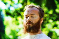 Retrato del primer del hombre con la barba roja y los ojos cerrados Imágenes de archivo libres de regalías