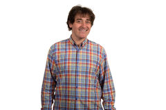 Retrato del primer del hombre joven sonriente en camisa a cuadros Imagen de archivo libre de regalías