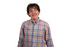 Retrato del primer del hombre joven sonriente en camisa a cuadros Imagenes de archivo