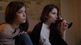 Retrato del primer en el perfil de las muchachas caucásicas jovenes que ven la TV atento y que beben el vino en hogar acogedor almacen de video