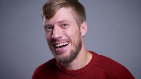 Retrato del primer del hombre caucásico de mediana edad feliz que mira la cámara y que sonríe con el fondo aislado en gris almacen de video