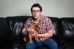 Retrato del primer, hombre joven en la camisa roja, sentándose en el sofá de cuero negro con dos perros, TV de observación, soste imagen de archivo