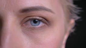 Retrato del primer del ojo femenino caucásico hermoso que mira derecho la cámara metrajes