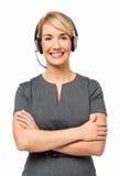 Retrato del representante/delegado de servicio de atención al cliente feliz Fotografía de archivo