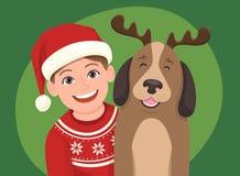 Retrato del saludo de la Navidad Ilustración del vector Foto de archivo