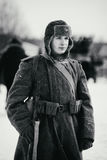 Retrato del soldado de ejército rojo Foto blanco y negro de Pekín, China Foto de archivo