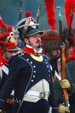 Retrato del soldado de la guerra napoleónica en uniforme del azul Fotos de archivo libres de regalías