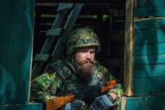 Retrato del soldado en camuflaje Imagen de archivo libre de regalías