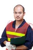 Retrato del trabajador del emplazamiento de la obra Imagen de archivo libre de regalías