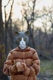 Retrato del traje del gato de la persona que lleva con la máscara Imagenes de archivo