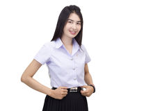 Retrato del uniforme de la universidad del estudiante Imagen de archivo