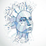 retrato del vector 3d creado con las líneas malla Allegor de la inteligencia libre illustration