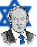 04 01 2018 Retrato del vector de Benjamin Netanyahu Prime Minister Israel Uso editorial solamente Fotos de archivo