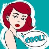 Retrato del vector de la mujer hermosa en color Ejemplo editable fácil Muchacha del arte pop fresco Foto de archivo libre de regalías