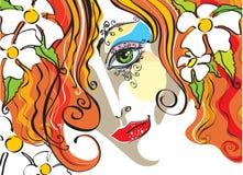 Retrato del vector de la mujer joven ilustración del vector