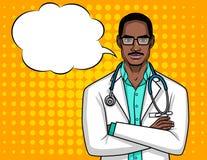Retrato del vector de un doctor con los vidrios Imagen de archivo libre de regalías