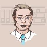 Retrato del vector de un hombre en una camisa blanca con un lazo en la parte posterior ilustración del vector