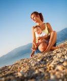 Retrato del verano de la madre y del hijo Fotografía de archivo