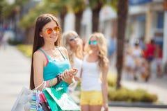 Retrato del verano de una mujer con los bolsos coloreados Fotos de archivo libres de regalías