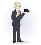 Retrato del viejo hombre con la cámara retra Vector Imagen de archivo libre de regalías