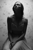Retrato del vintage de la muchacha retra atractiva Imagen de archivo libre de regalías