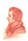 Retrato del Watercolour de Amadeus Mozart Imágenes de archivo libres de regalías