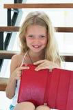 Retrato del withTablet de la chica joven Imagen de archivo