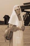 Retrato denominado retro com enfermeira Fotografia de Stock Royalty Free