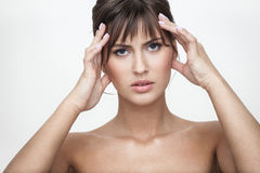 Retrato desagradado da mulher imagens de stock