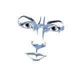 Retrato desenhado à mão monocromático da mulher duvidosa da branco-pele Fotografia de Stock