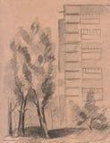 Retrato desenhado mão da cidade ilustração do vetor