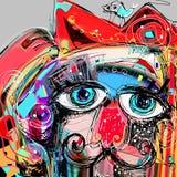 Retrato digital abstracto de la pintura de las ilustraciones del gato Fotos de archivo